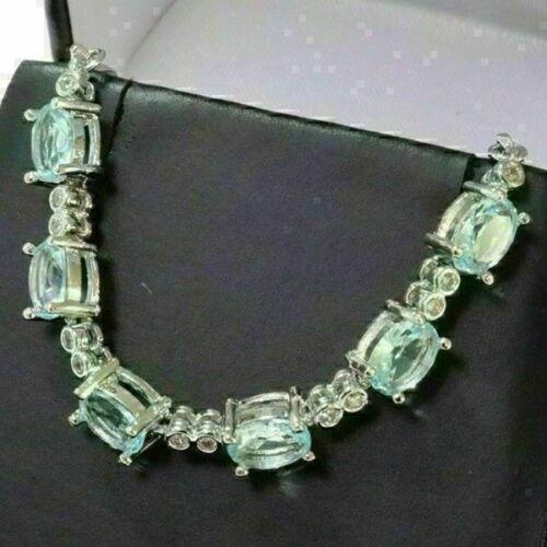 Oval Blue Aquamarine Link Chain Bracelet Women Jewelry 14K White Gold Plated