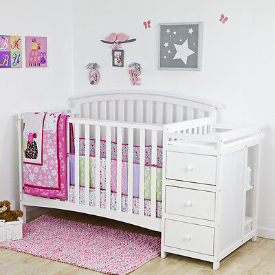 5 in 1 Side Convertible Crib Changer Nursery Furniture Baby Toddler Bed Caucasoid