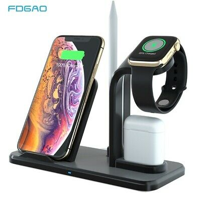 UK 3in1 10W Qi Wireless Charger Dock Stand For Apple Watch 5/4/3/2/1 iPhone 11 8