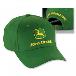 John Deere Green Cotton Cap with Yellow Logo and Tagline Adjustable LP14418