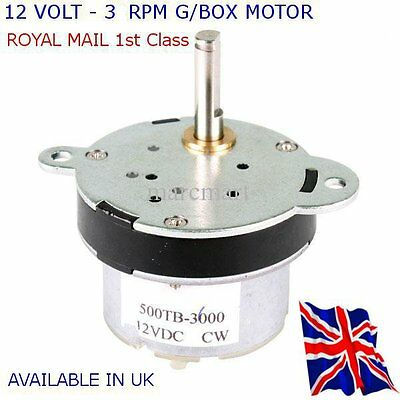 12v Dc High Torque Electric Motorgearbox 3 Rpm - All Projects Available In Uk