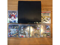 PlayStation 3 Slim 120gb plus 6 games & cables