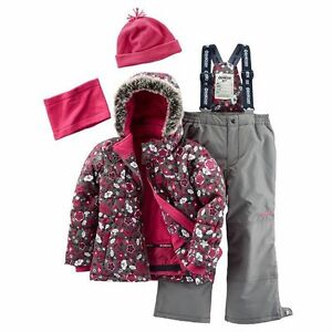 OshKosh B'gosh Fleece-Lined 4-Piece Snowsuit Size 7 EUC