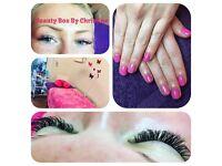 Eyelash extensions, gel nails, eyebrow shape and tint