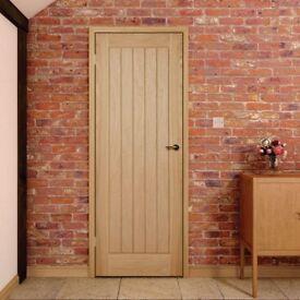 Cottage panel Oak Veneer internal door. Measurements - 207.2cms height X 55cms wide X 4 cms deep.