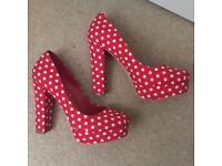 Head over heels red spotty heels