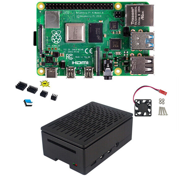 Raspberry Pi 4 Model B 4GB & Black Case Enclosure Box with Cooling Fan Computers/Tablets & Networking