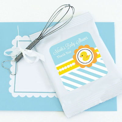 48 Personalized Rubber Ducky Theme Lemonade Mix Pouches Baby Shower Favors  - Baby Shower Rubber Ducky Theme