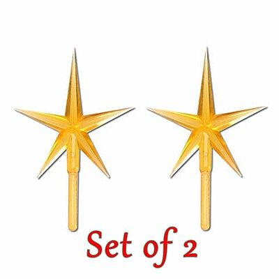 2 PIECE PACKAGE GOLD STAR PEGS FOR VINTAGE CERAMIC CHRISTMAS TREE TOP 4