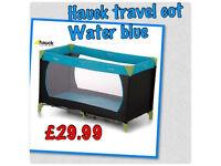 Brand new in box Hauck travel cot also play pen with mattress in water blue birth to 3.