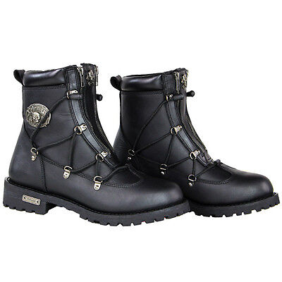 Xelement X93007 Performance Flathead Black Leather Motorcycle Boots