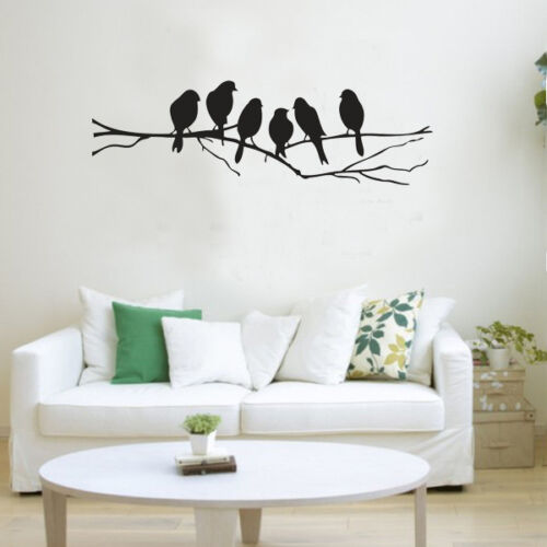 Black birds branch tree wall stickers removable vinyl for Black tree wall mural