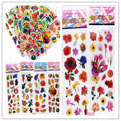 Cartoon fruits and vegetables flowers Crafts stickers lot-kids favor party gift - Crafts And Favors