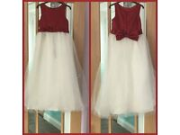 Red and White Bridesmaid Dress Childs Age 9 to 10 years