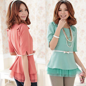 Sizes-L-3XL-women-sweet-ruffle-hem-w-belt-chiffon-blouse-top-2colors-JB2231
