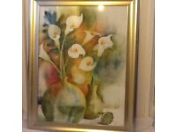 Pair of Cala Lilly prints, large, gold frames
