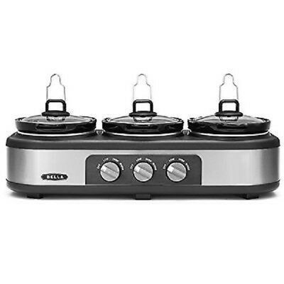 Bella 3 x 2.5-Quart Triple Slow Cooker Stainless Steel/Black with Lid Rest -New