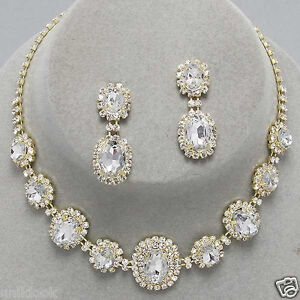 Wedding bridesmaid prom bridal gold clear crystal for Costume jewelry for evening gowns