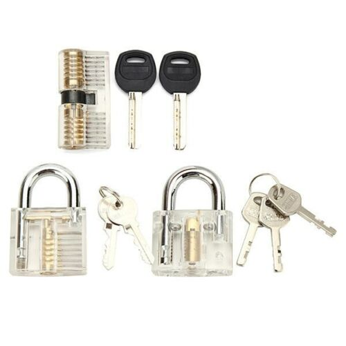 Transparent Practice Lock Training Padlock Locksmith Visible Clear View US STOCK