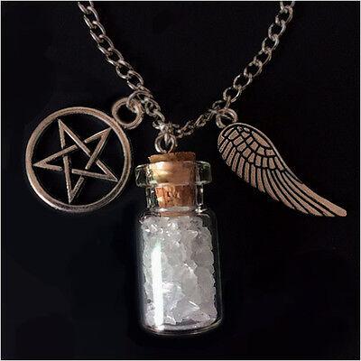 SUPERNATURAL Salt and Burn Protection Bottle Necklace angel wing pentagram demon