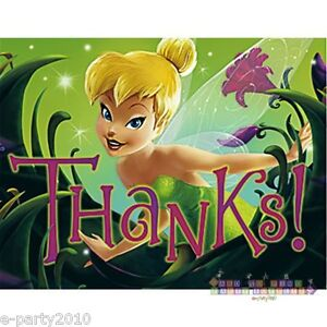 TINKER-BELL-THANK-YOU-NOTES-8-Birthday-Party-Supplies-Cards-Stationery