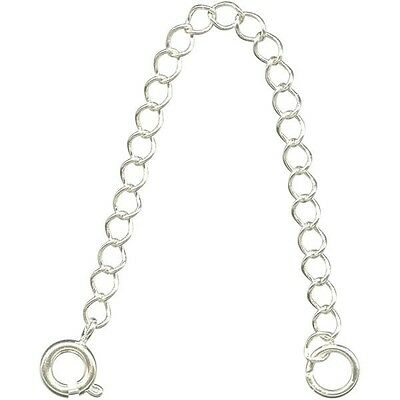 "6 Necklace EXTENDERS SILVER Plated Curb CHAIN~  3"" Long with Spring Ring Clasp"