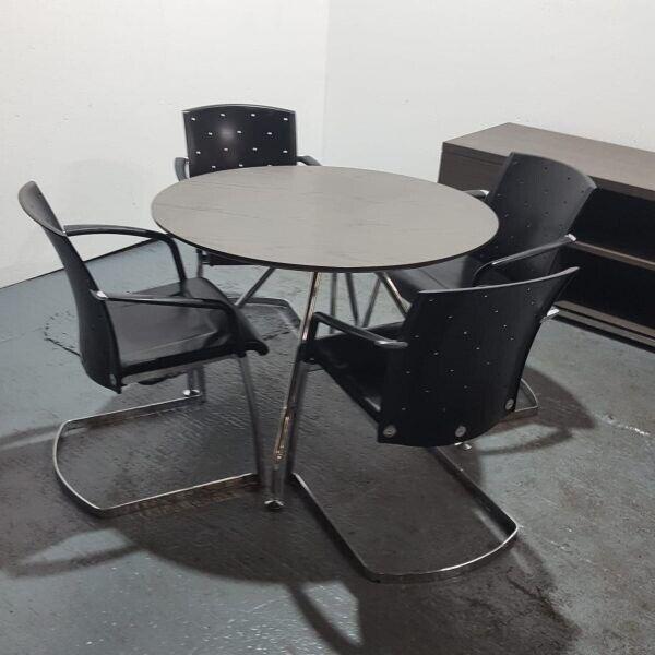 Round Meeting Table Dark Brown 4 Black Leather Designer Cantilever Chairs Set In Penny Lane Merseyside Gumtree