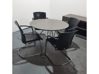 Round Meeting Table, Dark Brown + 4 Black Leather Designer Cantilever Chairs Set