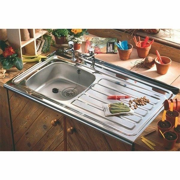 Stainless Steel Sit On Kitchen Sink 1.0 Bowl Right Hand Drainer ...