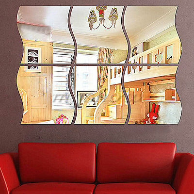 6PCS Wave Removable Home Acrylic Wall Mirror Sticker Art Vinyl Mural Decor Decal