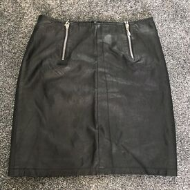 Real black leather vintage skirt 29 inches