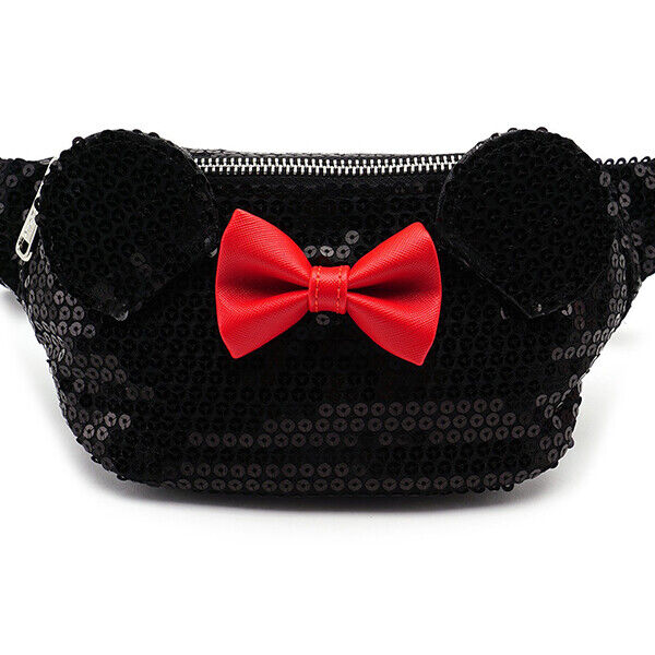 Loungefly DISNEY MINNIE MOUSE Black Sequin Fanny Pack w/Red