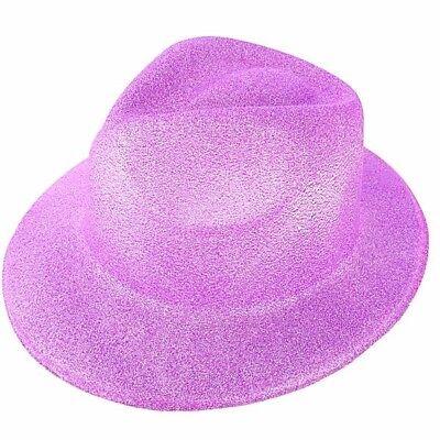 Purple Glitzy Plastic Gangster Hat