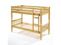 EXPRESS DELIVERY-BRAND NEW SINGLE DOUBLE DECKER BRAZILIAN PINE WOODEN BUNK BED FRAME WITH MATTRESSES