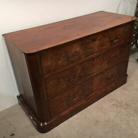 Early 1900s antique mahogany 3 drawered unit - rounded top & plinth