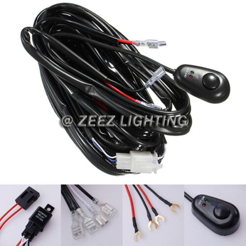 Fog Light Relay Harness Wiring Kit Switch HID LED Work Lamp Spot Driving Bar C14
