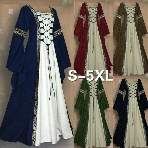 Women Costume Medieval Maiden Fancy Cosplay Over Dress Victorian Dress Costume