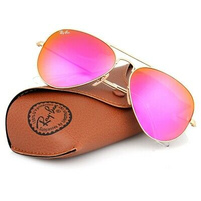 New Ray Ban Aviator RB3025 112/4T Matte Gold frame/Cyclamen HOT Pink mirr Lens (Hot Pink Ray Bans)