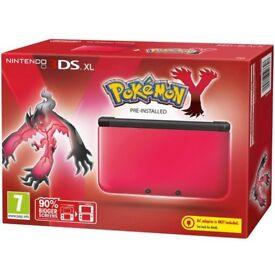 2x Nintendo 3DS XL Red Pokemon Y