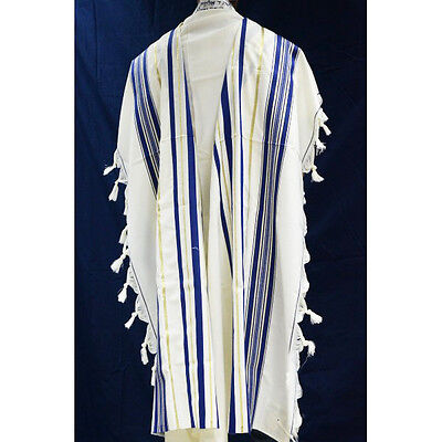 WOOL TALLIT WITH GOLD & BLUE STRIPES -Made in Israel Jewish Prayer Shawl SIZE 24