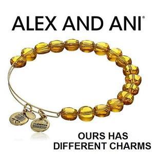 NEW ALEX AND ANI BEAD BRACELET JEWELLERY - JEWELRY - LUXE BEAD BANGLE - DARK TOPAZ GOLD 102989106