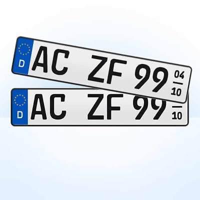 2 Stück EU KFZ Nummernschilder + Saison - Kennzeichen + 520 x 110