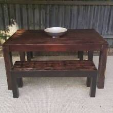 Distressed Hardwood Dining Table & Two Matching Benches Upcycled Coogee Eastern Suburbs Preview