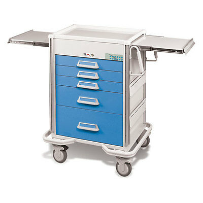 Steel Procedure Cart 5 Aluminum Drawers Electronic Lock 40.625h Crash Cart Blue