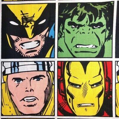 SALE 100% Cotton Fabric Marvel Comics Iron Man Hulk Wolverine Thor Avengers