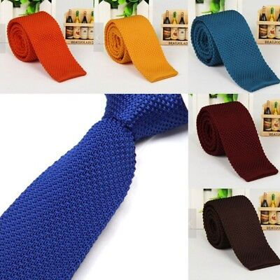 Men Fashion Solid Knitted Knit Tie Woven Necktie Tie Narrow Slim Skinny 18colors