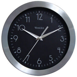 Westclox 36001 Round Wall Clock, Black Dial with Silver Numerals, 9