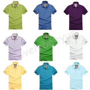 Colorful-Mens-New-Summer-Plain-Red-Blue-Polo-Shirt-Jersey-T-shirt-Tops-4-Sizes