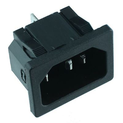 C14 Snap-Fit IEC Chassis Inlet Connector Snap Fit Connector