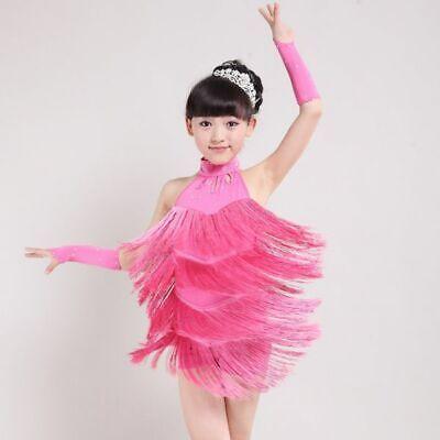 Girls Ballroom Dress (4-11T Girls Kids Latin Salsa Tasseled Fringe Ballroom Dance Wear Dress)